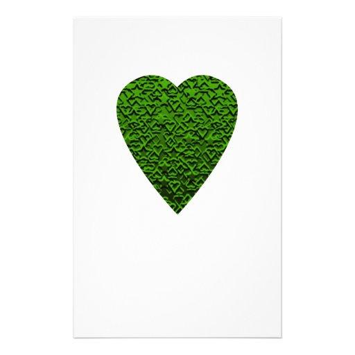 Green Heart. Patterned Heart Design. Flyer Design