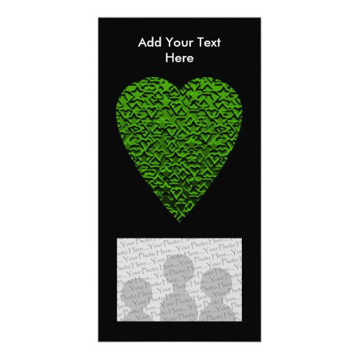 Green Heart. Patterned Heart Design. Photo Card Template
