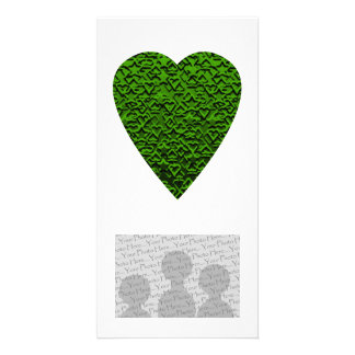 Green Heart Patterned Heart Design Personalized Photo Card