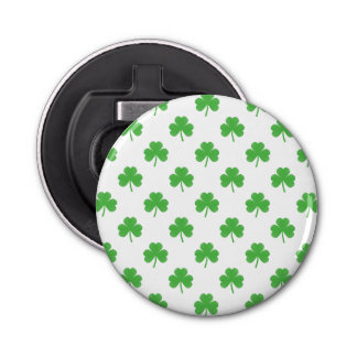 Green Heart-Shaped Clover on White St. Patrick's Bottle Opener