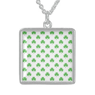 Green Heart-Shaped Clover on White St. Patrick's Pendants