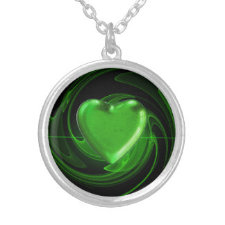 Green heart spiral background silver plated necklace