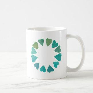green heart watercolour handpainted design mugs