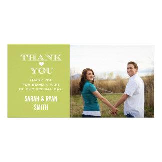 Green Heart Wedding Photo Thank You Cards