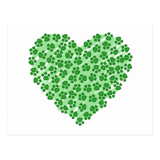 Green Heart with Animal Paws Postcard