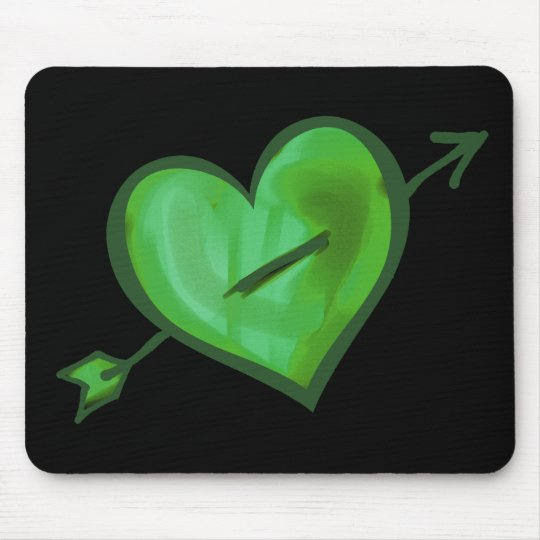Green Heart with Arrow Mouse Mat