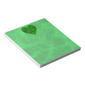 Green Heart with Shamrocks Notepad