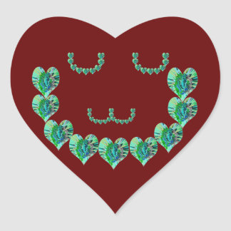 GREEN Hearts n Green STARS Heart Sticker