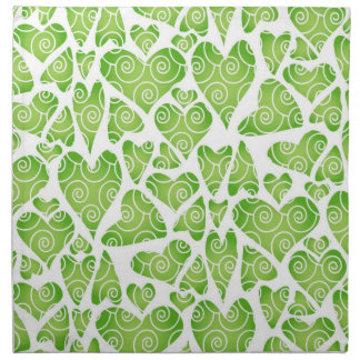 Green Hearts on White Cloth Napkin