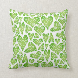 Green Hearts on White Cushions