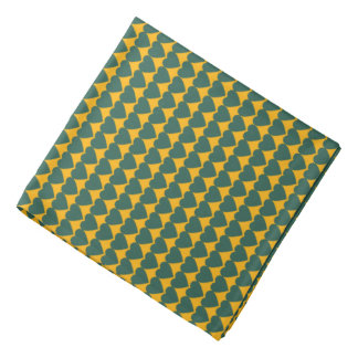 Green Hearts on Yellow Gold Bandanas