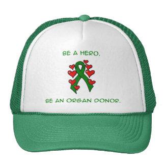 Green Hearts Ribbon Donor Mesh Hats