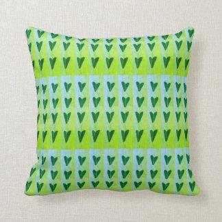 green hearts throw pillow