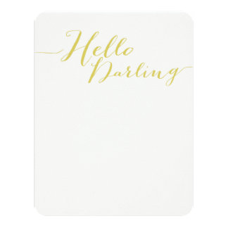 Green Hello Darling Flat Note Cards 11 Cm X 14 Cm Invitation Card