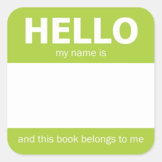 """Green """"Hello"""" Name Badge Bookplate Square Sticker"""