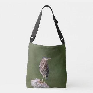 Green Heron on a log Crossbody Bag