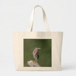 Green Heron on a log Large Tote Bag