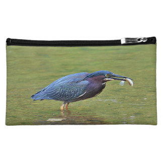 Green Heron with Fish Cosmetic Bag