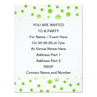 Green Hexagons Pattern. 11 Cm X 14 Cm Invitation Card