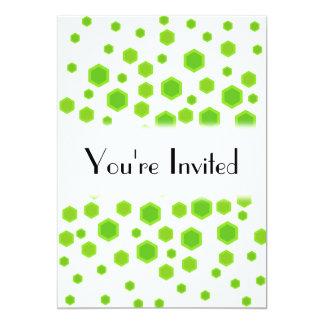Green Hexagons Pattern. 13 Cm X 18 Cm Invitation Card