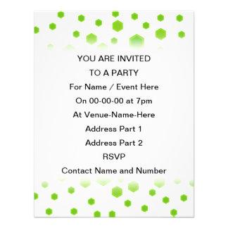 Green Hexagons Pattern Invitations