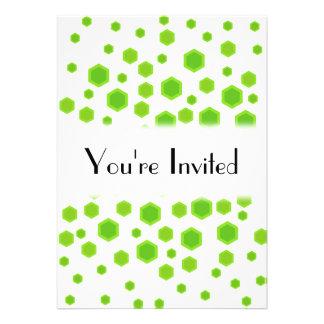 Green Hexagons Pattern Custom Invitation
