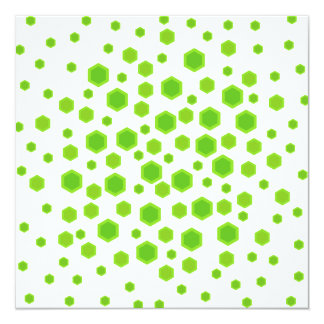 Green Hexagons Pattern. Personalized Invitations