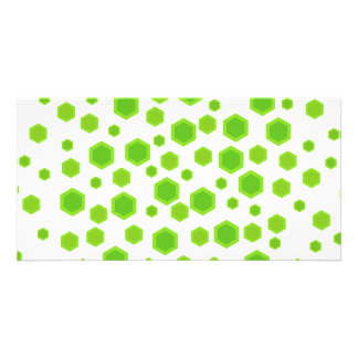 Green Hexagons Pattern. Personalized Photo Card
