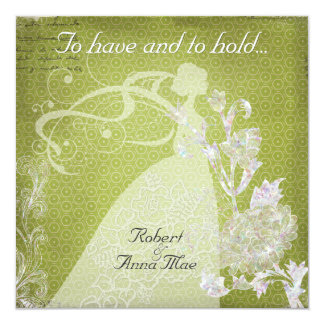 """Green Hexagons To Have and Hold Wedding Invite 5.25"""" Square Invitation Card"""