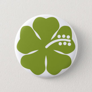 green hibiscus design 6 cm round badge