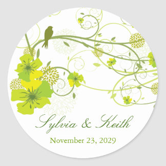 Green Hibiscus Floral Swirls Birds Wedding Sticker