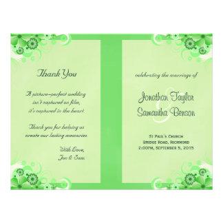 Green Hibiscus Floral Wedding Program Templates 21.5 Cm X 28 Cm Flyer
