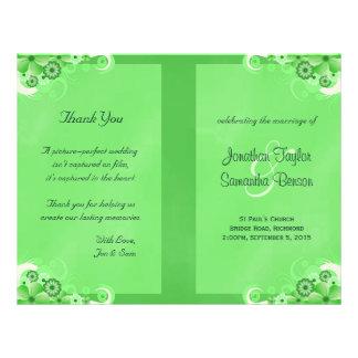 Green Hibiscus Floral Wedding Program Templates Flyers