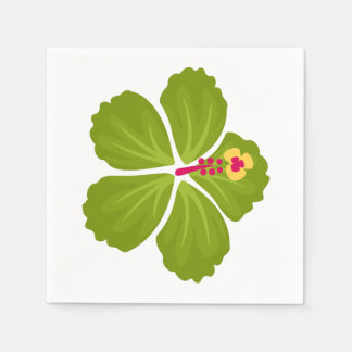 Green Hibiscus Flower Paper Napkins