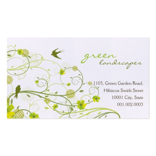 Green Hibiscus Swirls & Swallows Profile Card Pack Of Standard Business Cards