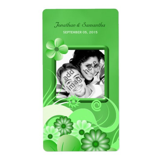 Green Hibiscus Wedding Big Photo Favour Wine Label