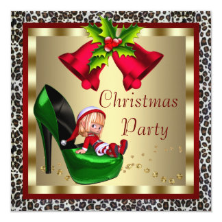 Green High Heel Shoes Leopard Christmas Party 13 Cm X 13 Cm Square Invitation Card