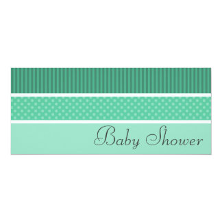 Green Hip Stripes and Dots Baby Shower Invitations
