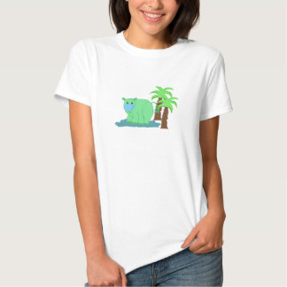 Green Hippo in the Water Tee Shirts