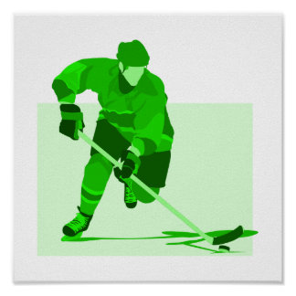 Green Hockey Logo Poster