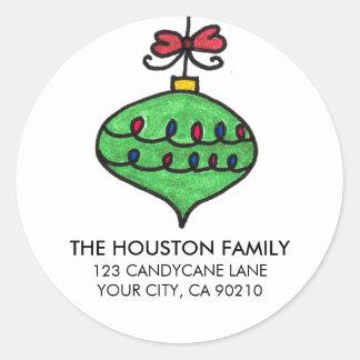 Green Holiday Ornament Round Sticker