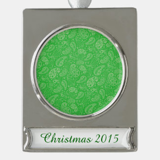 Green Holiday Paisely Silver Plated Banner Ornament