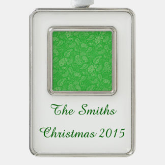 Green Holiday Paisely Silver Plated Framed Ornament