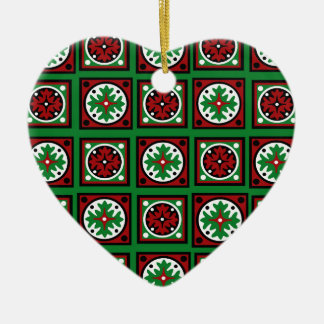 Green Holiday Quilt Christmas Ornament