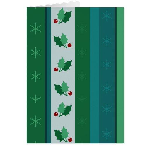 Green Holly Holiday Greetings Christmas Card