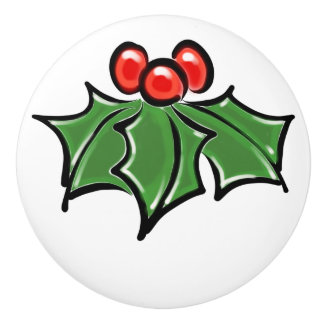 Green Holly leaves and red berries Ceramic Knob