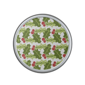 Green Holly Leaves and Red Berries Pattern Bluetooth Speaker