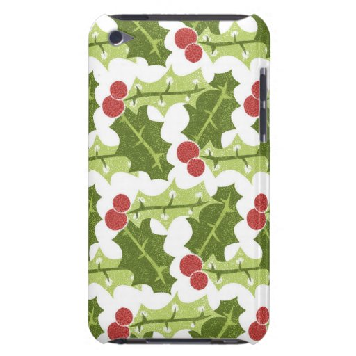 Green Holly Leaves and Red Berries Pattern Barely There iPod Covers