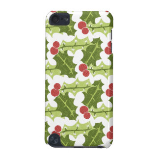 Green Holly Leaves and Red Berries Pattern iPod Touch 5G Covers
