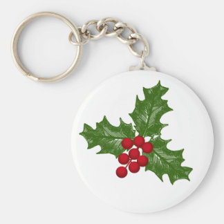Green Holly Leaves With Red Berries Basic Round Button Key Ring
